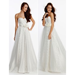 A Line Wedding Dress Ivory Sweep Brush Train Sweetheart Satin Tulle
