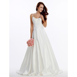 A Line Wedding Dress Ivory Court Train Spaghetti Straps Satin