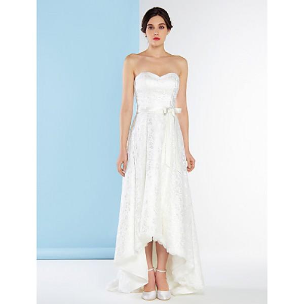 A-line Wedding Dress - Ivory Asymmetrical Sweetheart Lace Wedding Dresses
