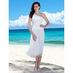 Sheath Column Plus Sizes Wedding Dress Ivory Tea Length One Shoulder Chiffon