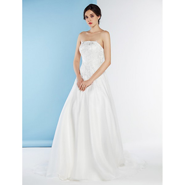 A-line Wedding Dress - Ivory Court Train Strapless Tulle Wedding Dresses