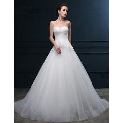 Ball Gown Wedding Dress - Ivory Chapel Train Sweetheart Organza / Satin