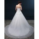 Ball Gown Wedding Dress - Ivory Chapel Train Sweetheart Organza / Satin Wedding Dresses