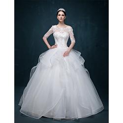 Ball Gown Wedding Dress - White Floor-length Scoop Tulle