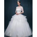 Ball Gown Wedding Dress - White Floor-length Scoop Tulle Wedding Dresses