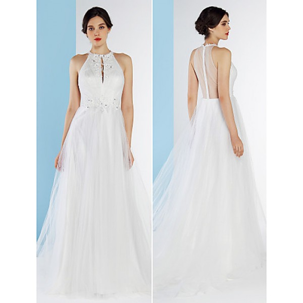 A Line Wedding Dress Ivory Court Train Jewel Tulle