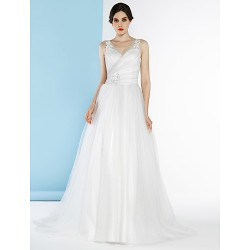 A Line Wedding Dress Ivory Silver Court Train V Neck Tulle