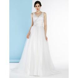 A-line Wedding Dress - Ivory / Silver Court Train V-neck Tulle