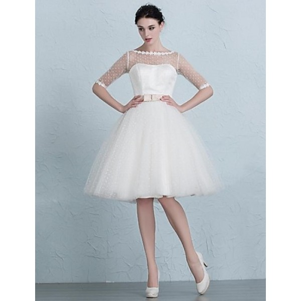 A-line Wedding Dress - Ivory Knee-length Bateau Tulle Wedding Dresses