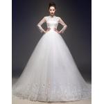 A-line Wedding Dress - Ivory Court Train High Neck Tulle Wedding Dresses