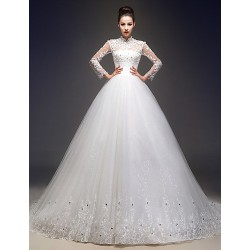 A Line Wedding Dress Ivory Court Train High Neck Tulle