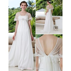 A Line Plus Sizes Wedding Dress Ivory Sweep Brush Train Off The Shoulder Tulle Georgette