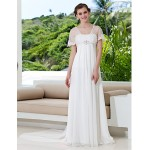 A-line Plus Sizes Wedding Dress - Ivory Sweep/Brush Train Off-the-shoulder Tulle/Georgette Wedding Dresses