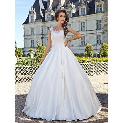A Line Plus Sizes Wedding Dress Ivory Floor Length Scoop Lace Taffeta