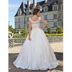 A-line Plus Sizes Wedding Dress - Ivory Floor-length Scoop Lace/Taffeta Wedding Dresses