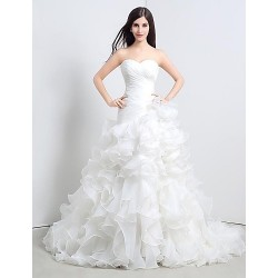 A Line Floor Length Wedding Dress Sweetheart Organza
