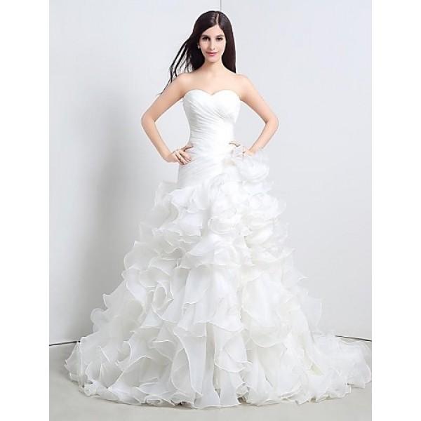 A-line Floor-length Wedding Dress -Sweetheart Organza Wedding Dresses