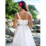 A-line/Princess Plus Sizes Wedding Dress - Ivory Chapel Train One Shoulder Chiffon Wedding Dresses