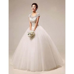 Ball Gown Floor Length Wedding Dress Scoop Lace