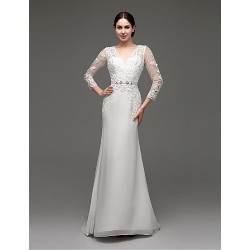 A Line Sweep Brush Train Wedding Dress V Neck Chiffon