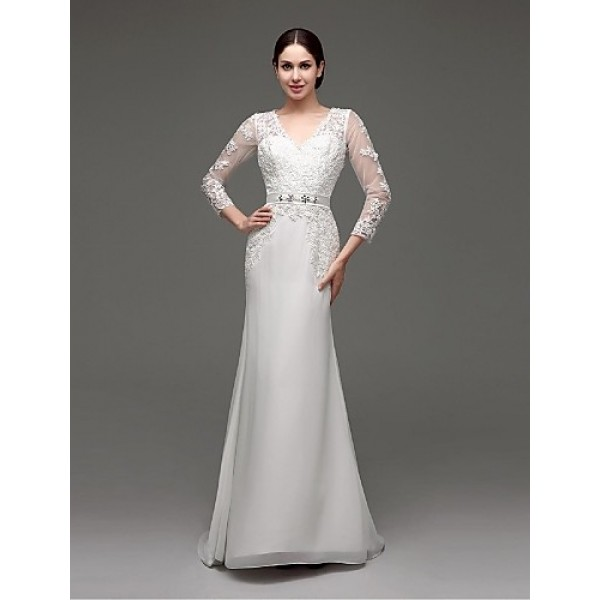 A-line Sweep/Brush Train Wedding Dress -V-neck Chiffon Wedding Dresses