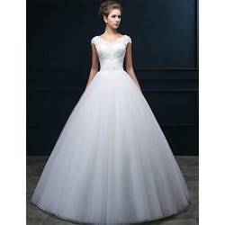 A Line Floor Length Wedding Dress V Neck Tulle