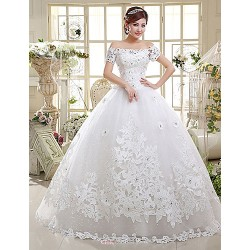 Ball Gown Wedding Dress Floor Length Off The Shoulder Lace