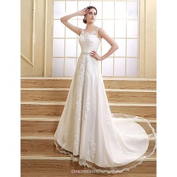 A Line Wedding Dress Court Train Floor Length Jewel