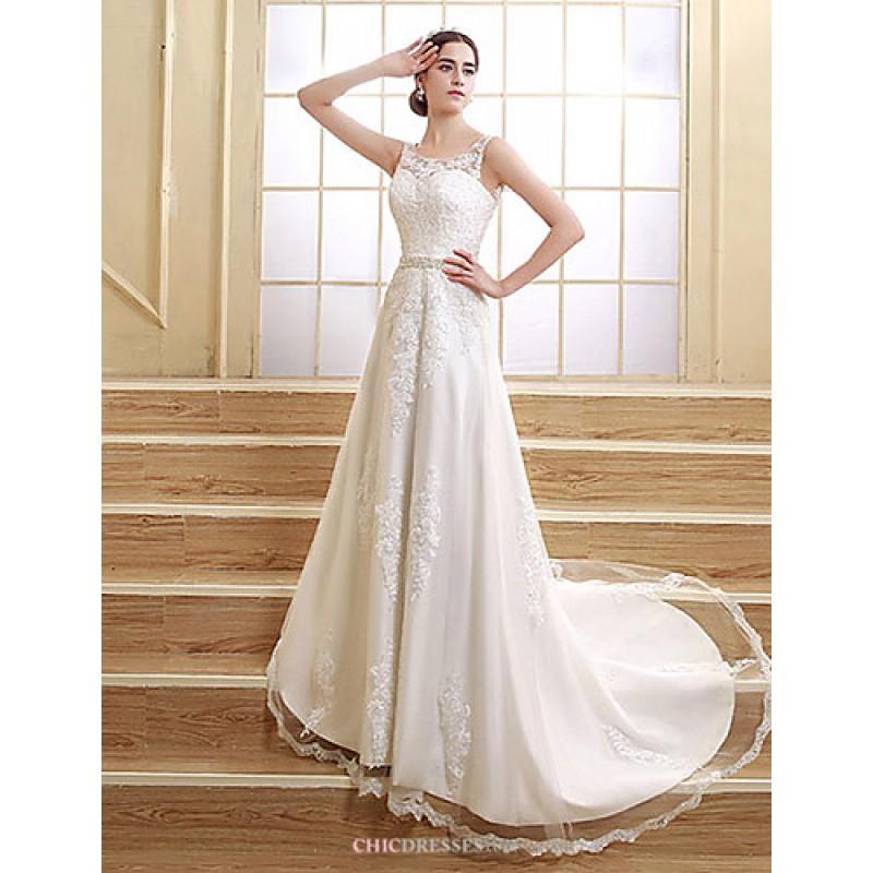 A-line Wedding Dress Court Train/Floor-length Jewel,Cheap