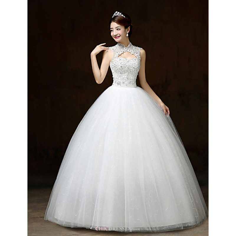 Ball Gown Wedding Dress White Floor Length High Neck