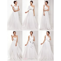 Mix&Match Convertible Dress Sweep Brush Train Chiffon A Line Princess Wedding Dress (1539446)