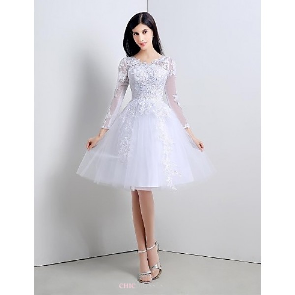 Cocktail Party Dress Ivory A Line V Neck Tea Length Lace Tulle