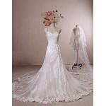 A-line Wedding Dress - Ivory Chapel Train Straps Lace / Satin / Tulle Wedding Dresses