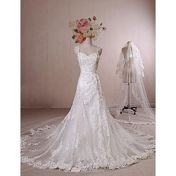 A Line Wedding Dress Ivory Chapel Train Straps Lace Satin Tulle