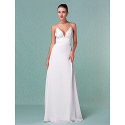 Sheath Column Plus Sizes Wedding Dress Ivory Floor Length V Neck Chiffon