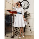 A-line Petite / Plus Sizes Wedding Dress - Ivory Knee-length Bateau Satin Wedding Dresses