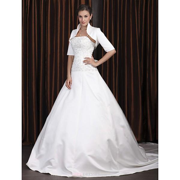 A-line Plus Sizes Wedding Dress - Ivory Chapel Train Spaghetti Straps Satin Wedding Dresses