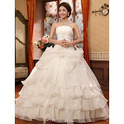 Ball Gown Floor Length Wedding Dress Strapless Organza