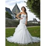 Trumpet/Mermaid Plus Sizes Wedding Dress - Ivory Chapel Train Sweetheart Organza Wedding Dresses