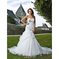 Trumpet/Mermaid Plus Sizes Wedding Dress - Ivory Chapel Train Sweetheart Organza