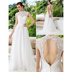 A-line Wedding Dress - Ivory Court Train High Neck Lace/Satin