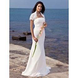 Trumpet Mermaid Plus Sizes Wedding Dress Ivory Sweep Brush Train Strapless Chiffon
