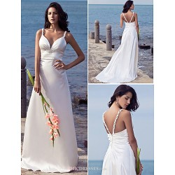 Sheath/Column Plus Sizes Wedding Dress - Ivory Sweep/Brush Train Straps Stretch Satin