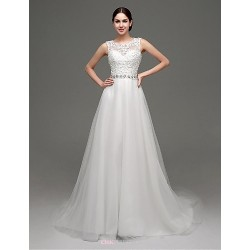 A Line Sweep Brush Train Wedding Dress Bateau Tulle
