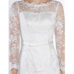 Fit & Flare Wedding Dress - Ivory Ankle-length Scoop Lace Wedding Dresses