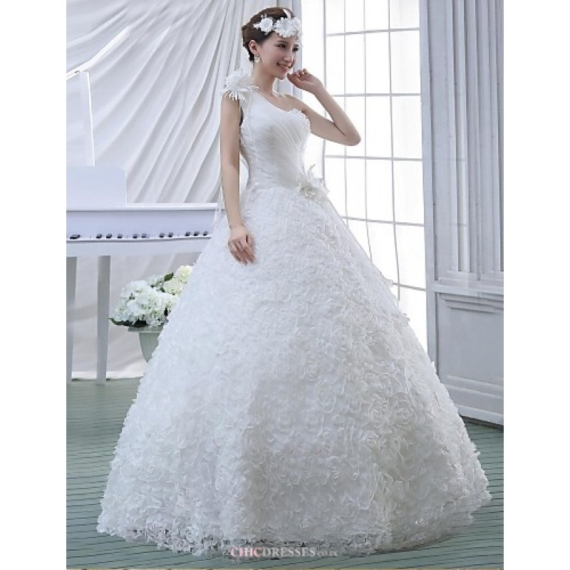 Ball Gown Wedding Dresses Uk: White Floor-length One Shoulder