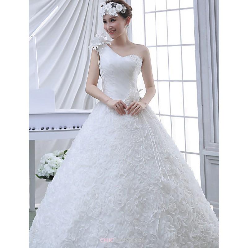 Ball gown wedding dress white floor length one shoulder for Velvet and lace wedding dresses