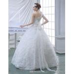 Ball Gown Wedding Dress - White Floor-length One Shoulder Lace/Velvet Chiffon Wedding Dresses