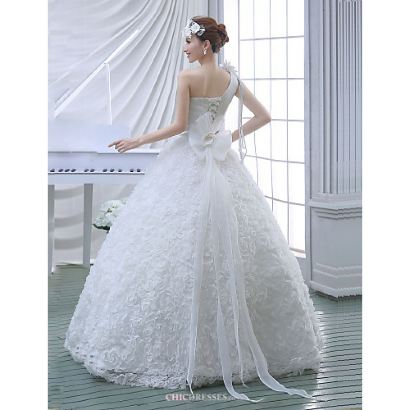 Ball Gown Wedding Dress - White Floor-length One Shoulder Lace ...