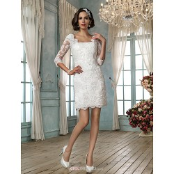 Sheath/Column Wedding Dress - Ivory Short/Mini Square Lace